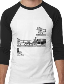 Old carriage, horses, vintage vehicle, steampunk illustration Men's Baseball ¾ T-Shirt