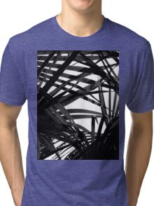 Light in Palm leaves Black and White Pattern Tri-blend T-Shirt