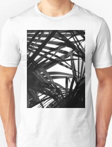Light in Palm leaves Black and White Pattern Unisex T-Shirt