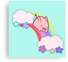 Kawaii Rainbow Pig Canvas Print