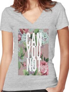Floral Can You Not Women's Fitted V-Neck T-Shirt