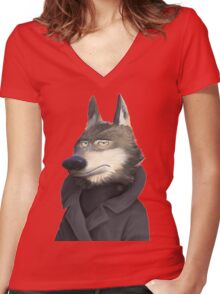 wolf zootropolis Women's Fitted V-Neck T-Shirt