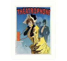 1896 Vintage French theatre phone (theatrophone) by Cheret Art Print