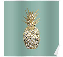 Modern Chic Marble Gold Pineapple Fruit Poster