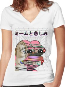 Memes and Sadness Women's Fitted V-Neck T-Shirt