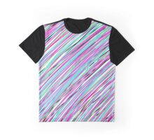 Pink/Purple/Blue/Green/Black Color Stripes Graphic T-Shirt