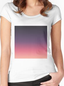 Simple Modern Peach to Purple Gradient Women's Fitted Scoop T-Shirt