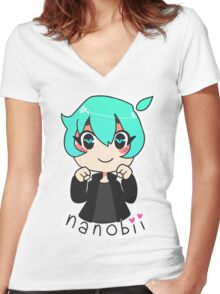 nanobii Women's Fitted V-Neck T-Shirt