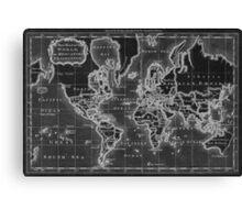 World Map (1766) Black & White  Canvas Print