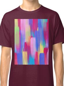 Vertical Watercolor Abstract Vivid Colorful Pop Classic T-Shirt