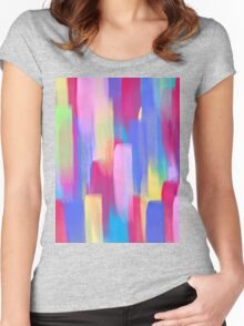 Vertical Watercolor Abstract Vivid Colorful Pop Women's Fitted Scoop T-Shirt