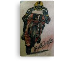 Joey Dunlop signed Tattoo Canvas Print