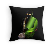 Blues Saxophone Man Throw Pillow