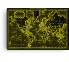 World Map (1766) Black & Yellow Canvas Print
