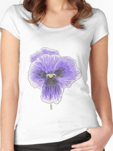 Dramatic Purple Pansy Design/Floral Art Women's Fitted Scoop T-Shirt