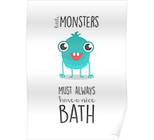 bathroom art, monsters, children's art, bath time rules Poster