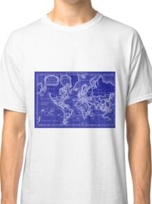 World Map (1766) Blue & White  Classic T-Shirt