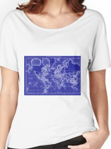 World Map (1766) Blue & White  Women's Relaxed Fit T-Shirt