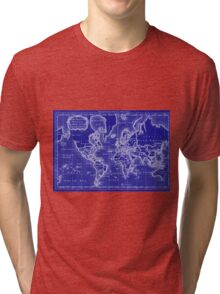 World Map (1766) Blue & White  Tri-blend T-Shirt