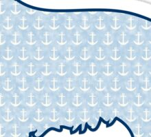 Faded Blue Nautical Anchors Preppy Retriever Dog Sticker
