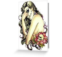 Woman rose skull Greeting Card