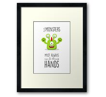 Monster reminder for children of the bathroom rules! Framed Print