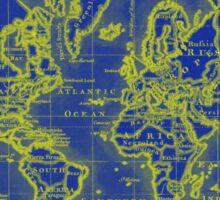 World Map (1766) Blue & Yellow Sticker