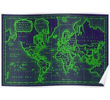 World Map (1766) Dark Blue & Green Poster