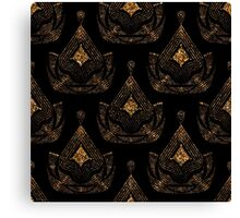 Ornament gold pattern. Retro foil stylish texture. Gold trendy glitter print on black background Canvas Print