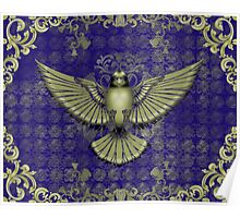 Damask Bird in Blue and Gold Poster