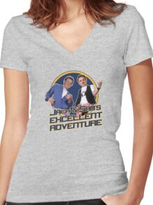 Jack and Sam's Excellent Adventure Women's Fitted V-Neck T-Shirt