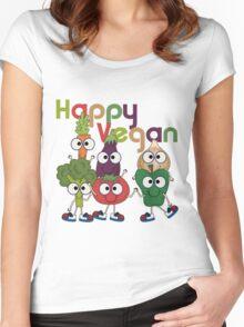 Veggies Vegetables Happy Vegan Women's Fitted Scoop T-Shirt