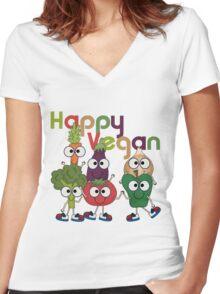 Veggies Vegetables Happy Vegan Women's Fitted V-Neck T-Shirt
