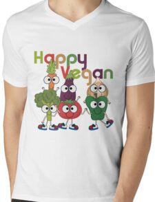 Veggies Vegetables Happy Vegan Mens V-Neck T-Shirt