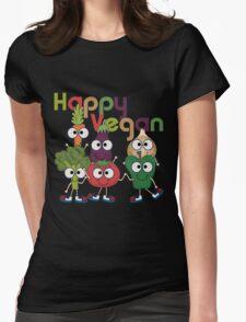 Veggies Vegetables Happy Vegan Womens Fitted T-Shirt