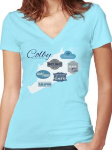 Visit Colby Women's Fitted V-Neck T-Shirt
