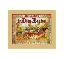 antique French automobiles de Dion Bouton playing cards theme ad Art Print
