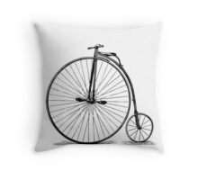 Old bicycle vintage, steampunk, old vehicle illustration Throw Pillow