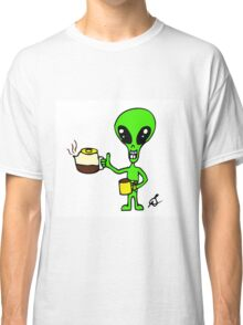 Little Greenie the Alien Discovers Coffee Classic T-Shirt