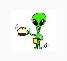 Little Greenie the Alien Discovers Coffee Unisex T-Shirt