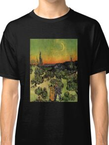 'Landscape with Couple Walking and Crescent Moon' by Vincent Van Gogh (Reproduction) Classic T-Shirt