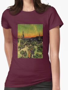'Landscape with Couple Walking and Crescent Moon' by Vincent Van Gogh (Reproduction) Womens Fitted T-Shirt