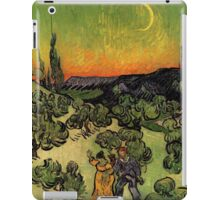 'Landscape with Couple Walking and Crescent Moon' by Vincent Van Gogh (Reproduction) iPad Case/Skin