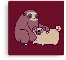 Sloth and Pug Canvas Print