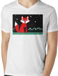 NIGHT FOX Mens V-Neck T-Shirt