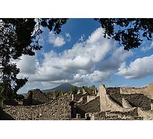 Mount Vesuvius Volcano, Framed in Ancient Pompeii Ruins and Italian Cypress Trees Photographic Print