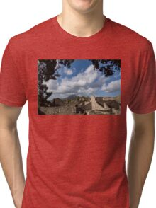 Mount Vesuvius Volcano, Framed in Ancient Pompeii Ruins and Italian Cypress Trees Tri-blend T-Shirt