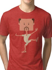 Funny karate man Tri-blend T-Shirt