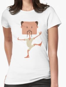 Funny karate man Womens Fitted T-Shirt