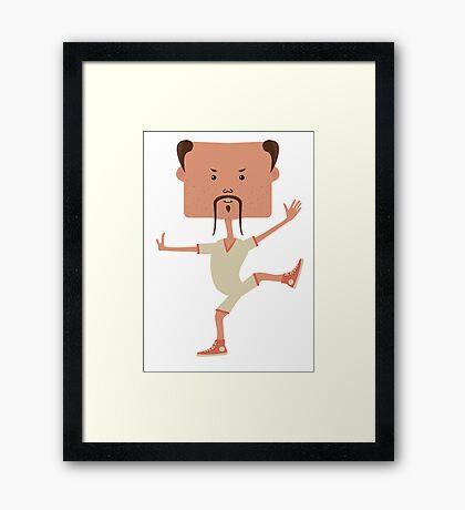 Funny karate man Framed Print